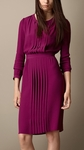 Purple Pleat Detail Cotton Silk Dress