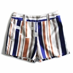 Blue Striped Silk and Cottonblend Shorts