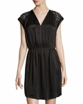 Rebecca Taylor Black Lace-Trim V-Neck Dress