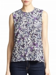 Rebecca Taylor Purple Silk Floral Print Top