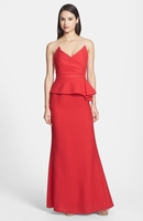 Red Gracie Crepe Peplum Mermaid Gown
