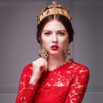 Retro big golden crown tiara and handmade earrings