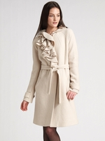 Ruffle Wool Coat
