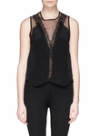 Sandro Black Enoee Lace Trim Chiffon Top