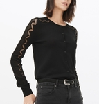 Black Round-neck Knitted Cardigan