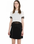 SANDRO ELGA LACE TRIM CROP TOP