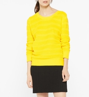 Sandro Yellow Panel-Knitted Jumper