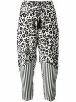 See By Chloe White Leopard Print Trousers