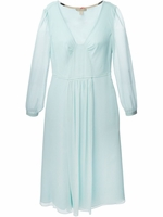 Silk Crepon Sheer Sleeve Flared Dress