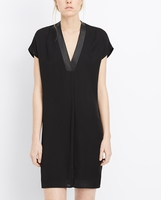 Silk Popover Dress With Leather Trim
