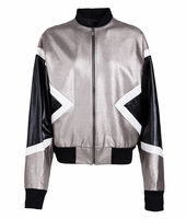 Silver Color-block Bomber