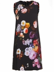 Sleeveless Fitted Silk Printed Dress