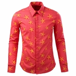 Starfish Print Cotton Dress Shirt