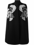 Black Flower feather Embroidered Cape Coat