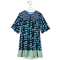 STELLA MCCARTNEY KID MIDNIGHT HEATHER POM POM PRINT DRESS