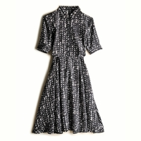 Black Short Sleeve Heart Print Shirt Dress