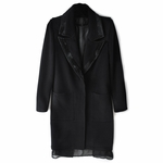 Stretch Wool Coat with Sheer Hem