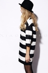 Stripe Cocoon Dress With Leather Trim