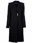 Structured wool linear coat with pale gold hardware