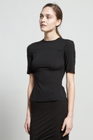 T By Alexander Wang Black Stretch Silk Georgette Scuba Short Sleeve To