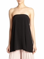 Tibi Black Simone Silk Strapless Top