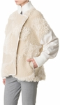 Tibi White Akiak Patchwork Bomber Jacket