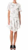 Tibi White Stencil Print Draped Dress