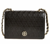 Tory Burch Black Robinson Perforated Leather Shoulder Bag