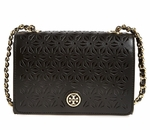 Tory Burch Black Robinson Perforated Leather Shoulder Bag - 5.29