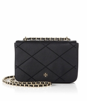 Tory Burch Black Robinson Stitched Adjustable Shoulder Bag