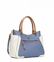 Tory Burch Blue Frances Color-Block Satchel