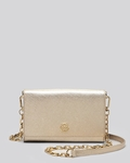 Tory Burch Gold Crossbody Robinson Metallic Wallet On A Chain