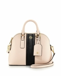 Tory Burch Pink Robinson Stripe Mini Domed Crossbody Bag Light Oak