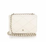 Tory Burch White Robinson Stitched Leather Mini Crossbody Bag