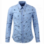 Tropical Island Pattern Print Cotton Shirt
