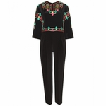 Black Embroidered Silk Jumpsuit