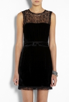 VELVET PANEL LACE MINI DRESS