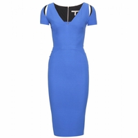 Blue Double Crepe Tailored Dress (On Sale)