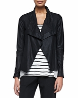 Vince Black Drape-front Leather Jacket