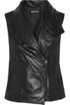 Vince Leather-Paneled Linen-Blend Twill Vest