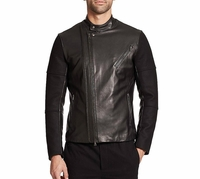 Vince Black Leather-paneled Wool Moto Jacket