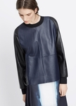 VINCE Colorblocked Leather Pullover