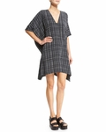 Vince Interlace Print Silk V-Neck Poncho Dress
