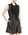 Vince Leather Ponte Draped Long Vest