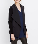 Vince Black Ribbed Sleeve Drape Front Jacket