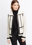 VINCE Leather Trimmed Shearling Jacket