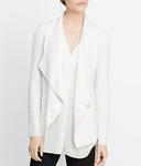 Vince White Ribbed Sleeve Drape Front Jacket