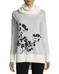White Ahiga Shadow Branches Cowl-neck Sweater