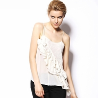 White Angelique Ruffled Seersucker silk and Lace Top