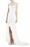 White Clarissa Sleeveless Lace High-Low Gown